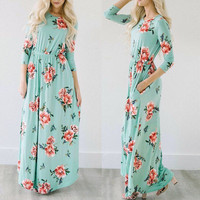 Jinggton2017 Summer Women Boho Evening Party Prom Floral Printed Beach Long Maxi Dress Free Shipping And
