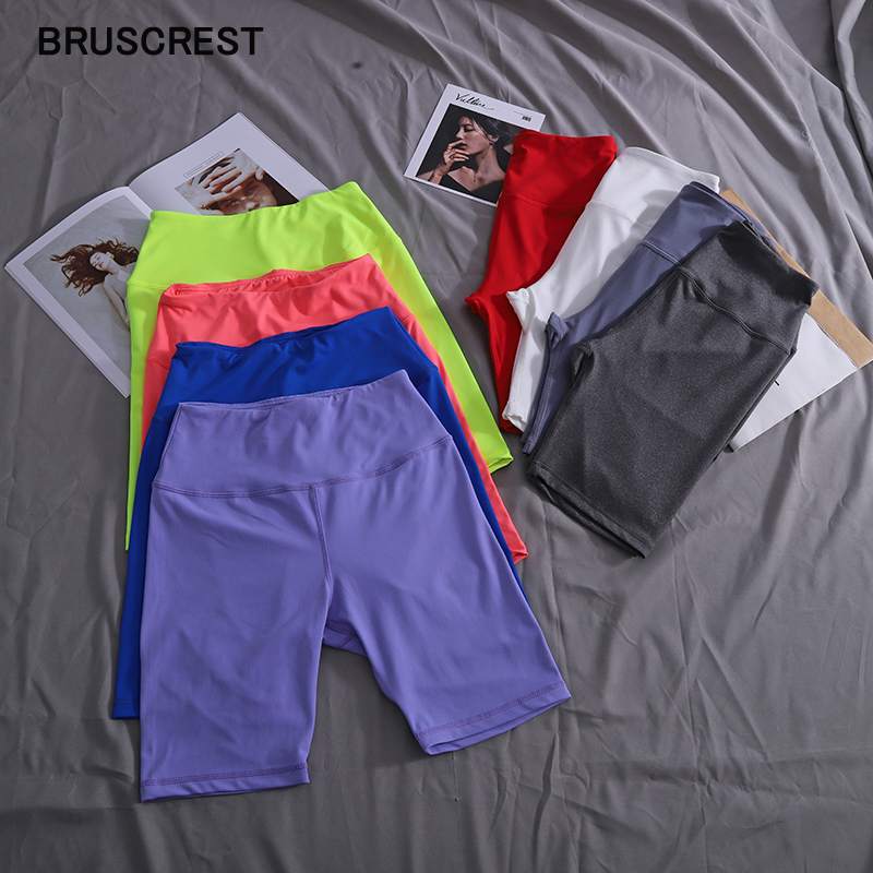 Summer Neon Green High Waisted Shorts Women Stretch Elastic Red White Black Biker Shorts Red Biker Shorts Ladies Short Mujer