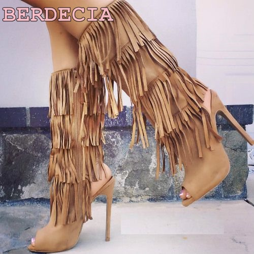 Women's  brown luxurious suede tassel boots knee high layers fringe long boots thin high heel pointed toe shoes free shipping