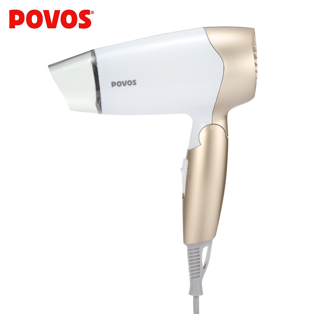 POVOS PH1602 Electric Hair Dryer Foldable Handle Hair Blow Dryer Folding Home Use Styling Tool Overheating Protection 1400W povos ph9022i 3 mode electric 2200w hair dryer white golden 2 flat pin plug