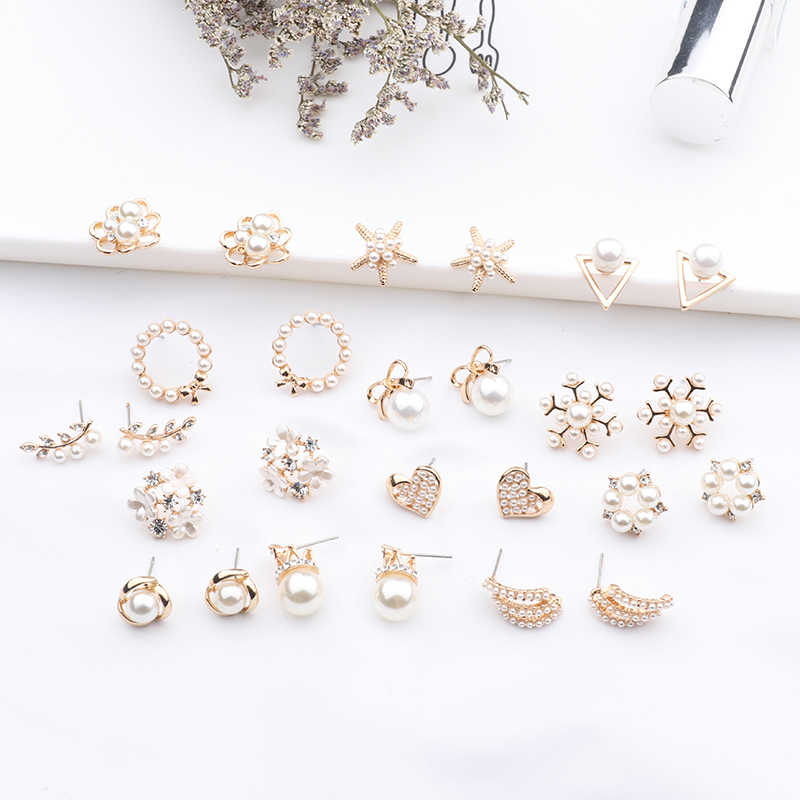2019 New Fashion Women Cute Simulated Pearl Beads Flower Stud Earrings Lovely Starfish Heart Korean Pendientes Elegant Jewelry