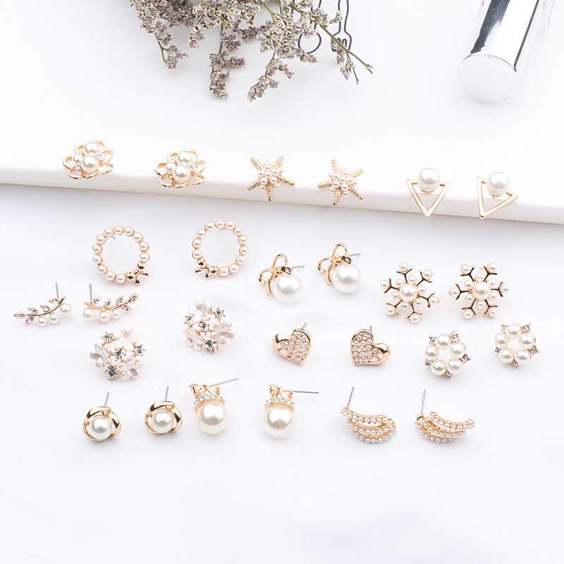 Женские элегантные серьги с жемчугом, современные милые и элегантные серьги-гвоздики с искусственными жемчужными бусинами и цветами, сердечками или морскими звездами в корейском стиле, 2019
