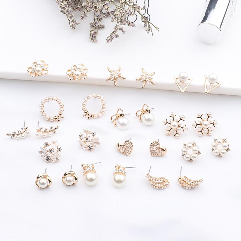 2019 New Fashion Women Cute Simulated Pearl Beads Flower Stud Earrings Lovely Starfish Heart Korean Pendientes Elegant Jewelry