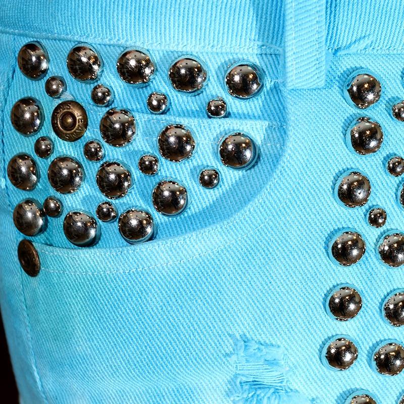 Short Verano Pantalones Brillante Rushed Femenina Industria Vaqueros Cielo Alta Caliente Teñido Cortos Remaches Algodón Pesada 2017 Cintura Azul xwHq5O5I