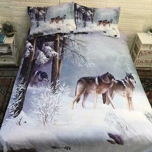 Image 2 - Juego de ropa de cama con funda de edredón de Snow Wolf, cama doble, tamaño King Size, 3 uds.