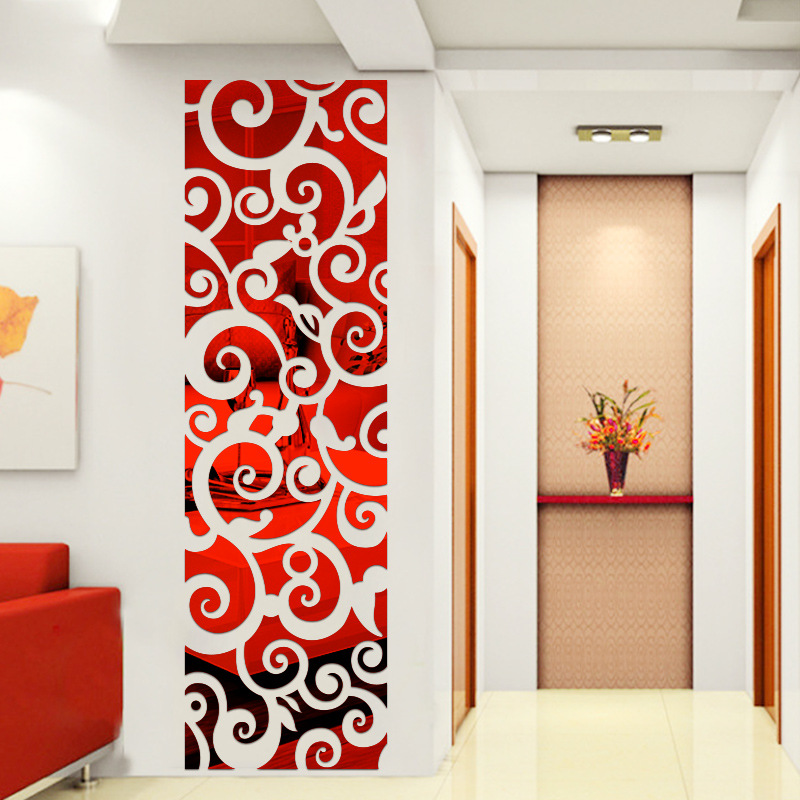 Hollow Acrylic Mirror Xiangyun Screen Wall Sticker Three dimensional Home Decoration Living Room Wall Stickers