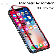 360 Protection Metal Bumper Magnetic Adsorption Case Cover for iPhone X Frame cases iphone 7 8 plus 8plus fundas coque Red