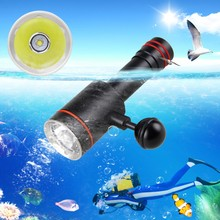 Waterproof 5000LM XM-L2 LED Mount Dive flashlight Underwater 100M Diving Torch With 1 Inch Ball Joint+Rechargeable Battery 5000lm xm l2 led scuba diving flashlight ajustable light torch underwater 100m waterproof diving lamb light 26650 battery charge
