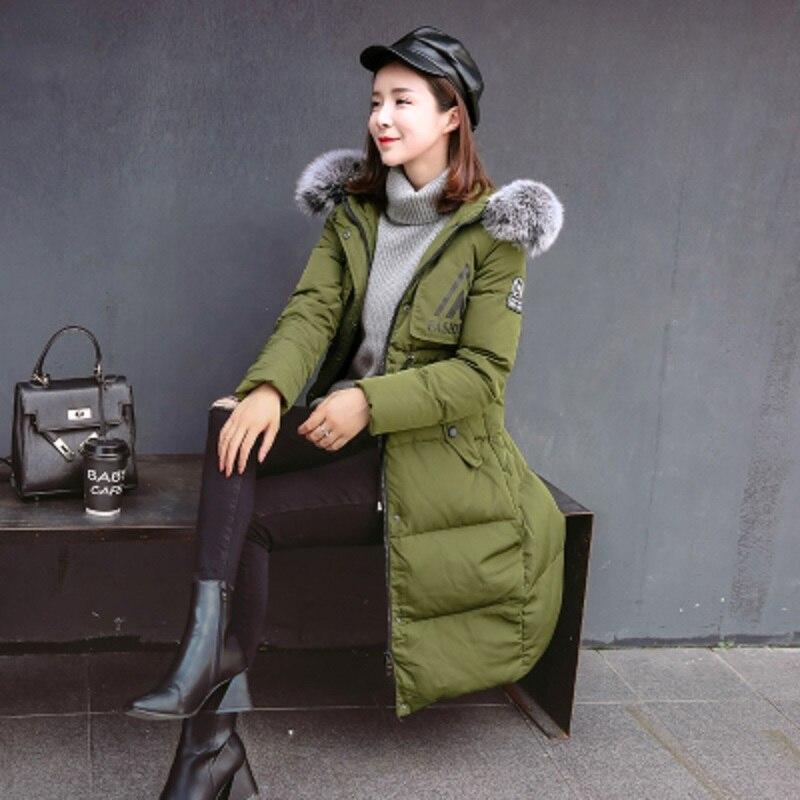 2017 New Winter Fashion Women Warm Hooded Parkas Large Artificial Fur Collar Coat for Female цены онлайн