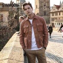 SIMWOOD nowy 2020 kurtka wiosenna mężczyzn w stylu casual fit sztruks płaszcze moda marka 100% czystej bawełny męska odzież wierzchnia odzież basic 180274