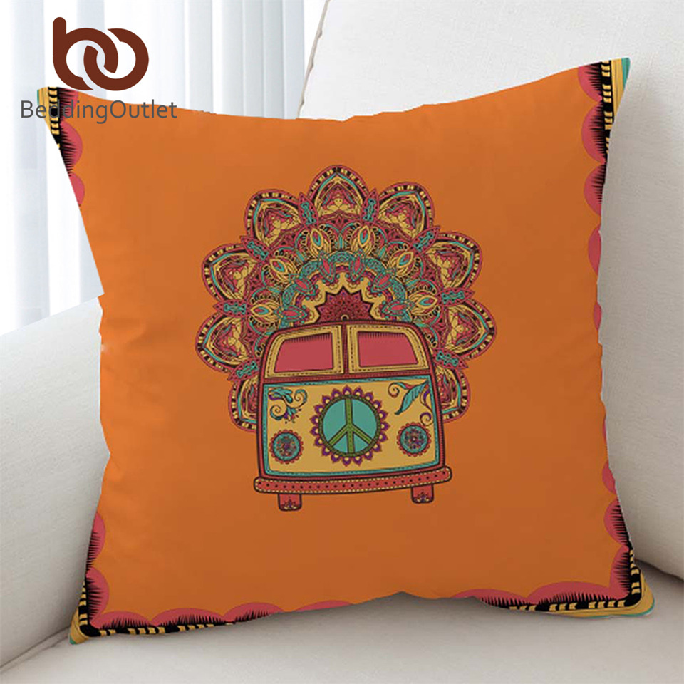 BeddingOutlet Hippie Vintage Car Cushion Cover Mandala Pillowcase Peace Design Throw Cover Boho Mini Van Decorative Pillow Cover