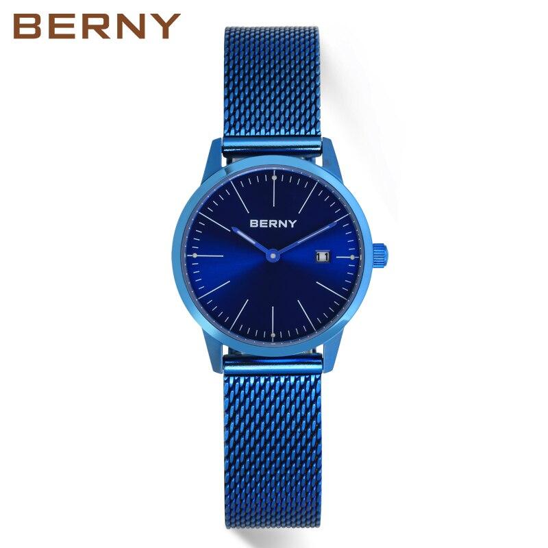 Berny nouveauté quartz relogio feminino montres montre femme femme en acier maille bande montre-bracelet femmes