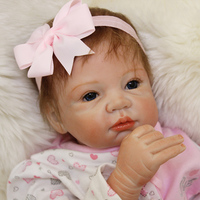 55cm Silicone Reborn Baby Doll Lovely Alive Newborn Princess Toddler Girl Babies Toy Doll Early Education Play House Bedtime Toy
