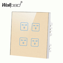 New Luxury Glass Gold 4 gangs 2 way touch light wall switch LED Smart touch screen switch Free Customize Switch new arrival 2 gangs 1 way crystal glass led black diy touch light wall switch touch switch free customize words free shipping