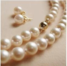 Women Gift Freshwater Genuine 8-9mm free shipping natural white freshwater cultured pearl beads necklace earring high quality je