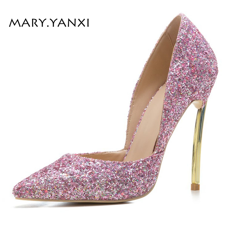 Women Big Size Lady Shoes Pumps Microfiber Sequined Cloth Bling Fashion Party Thin Super High Heels Pointed Toe Slip-On Shallow women pumps big size shoes crystal bling air mesh transparent high thin heels pointed toe fashion party sexy slip on shallow