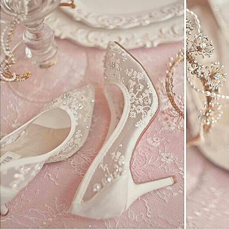 High Heel Lace Mesh Wedding Dress Shoes