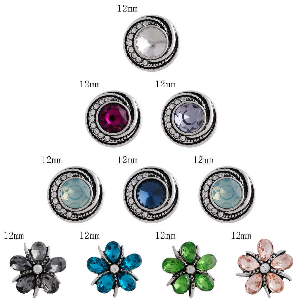wholesale snap High quality buckle charm Rhinestone 12mm Metal beads For Interchangeable DIY Snaps Jewelry for women girl