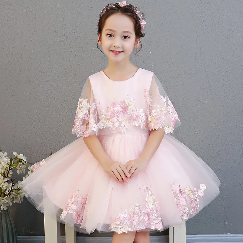 2018 Summer New Baby Kids Birthday Wedding Party Embroidery Lace Flowers Dress Elegant Children Girls Tutu Pageant Pink Dress 2018 new korean sweet autumn summer children baby birthday wedding party prom dress kids girls pink color flowers pageant dress