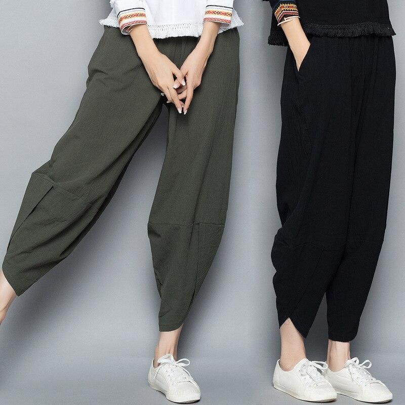 2018 New Vintage Women Elastic Waist Loose Long Radish Trousers Leisure Retro Baggy Pantalon Cotton Linen Solid Color Harem Pant