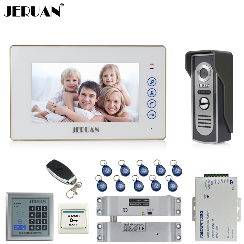 JERUAN 7`` Video Door phone Intercom System kit 1 White Touch Key Monitor 700TVL IR Camera RFID Access Controller Remote Control jeruan home 7 video door phone intercom system kit 1 white monitor metal 700tvl ir pinhole camera rfid access control in stock