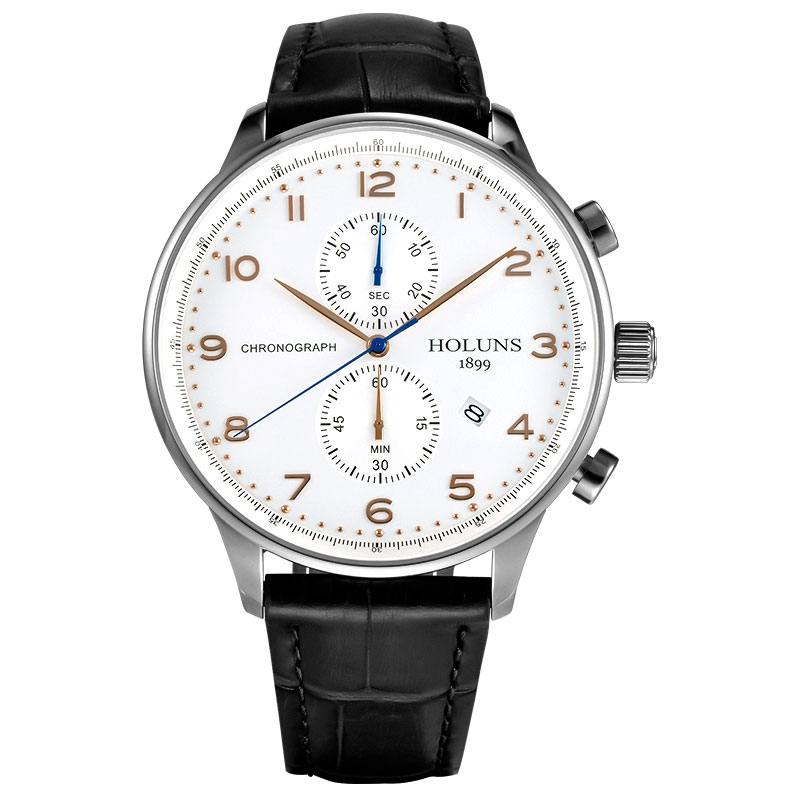 HOLUNS Luxury Fashion Men Quartz Wristwatch Chronograph Sport Dial Genuine Leather Band Casual Male Watch Gift Reloj masculino forsining luxury mmechanical men wristwatch genuine leathe band unique design dial cost effective male casual fashion watch