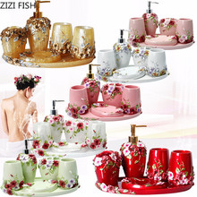 5pcs 6pcs/set Resin Bathroom Accessories Sets/Dispensers/Dishes/Toothpaste Holders/tray/Bathroom Tumblers/Bathroom Products