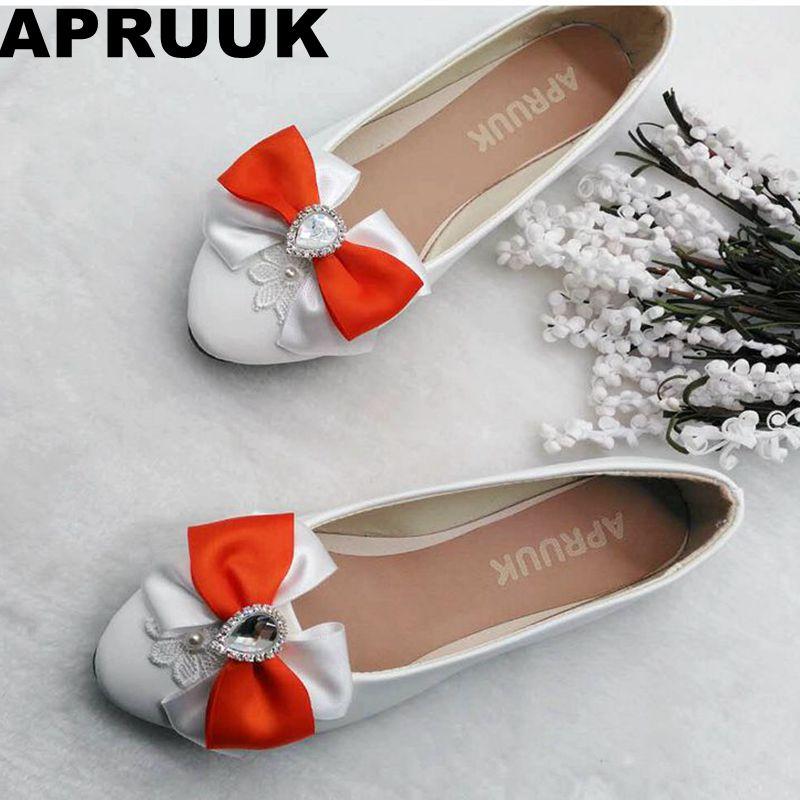 Flat Blanc Printemps noeud Papillon Bowtie Gratuite Orange Doux Rapide Casual Talon Plat Heel Stock De Femme Appartements Automne Arc Chaussures En dcHff