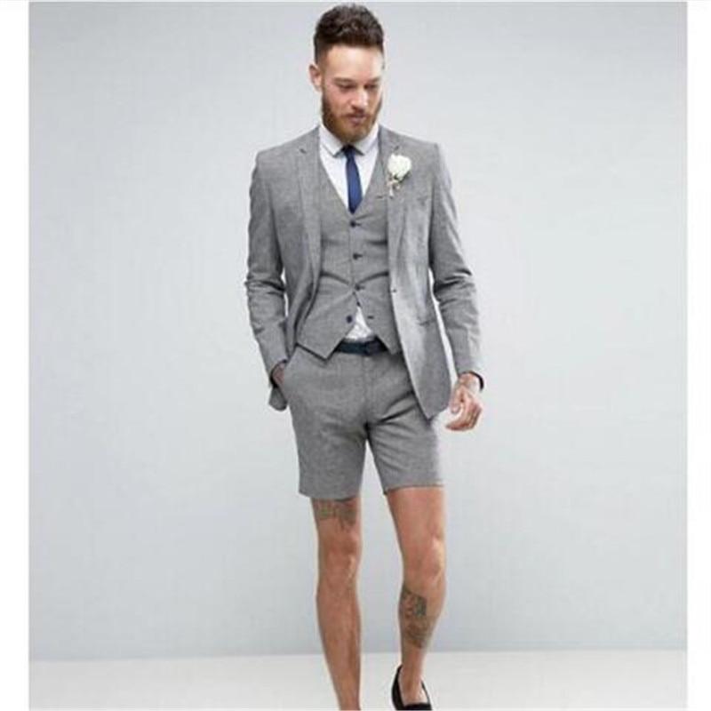 nueva colección 0f87c 72cf6 € 52.31 23% de DESCUENTO|Último abrigo pantalones diseños gris hombre traje  pantalón corto Casual verano trajes 3 piezas esmoquin Terno Masculino ...