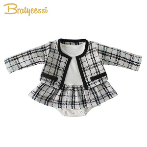 Image 1 - Fashion Baby Rompers for Girls Plaid Infant Jumpsuit Baby Girl Romper with Coat Baby Onesie Toddler Clothes Baby Costume