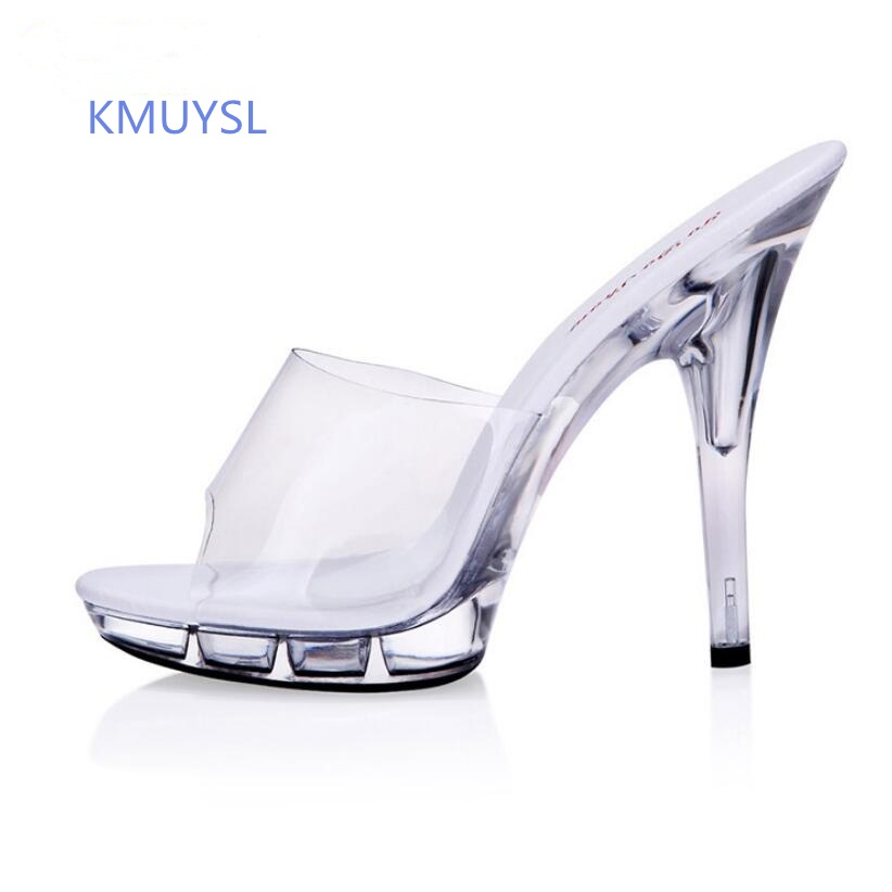 Transparent Women Summer Shoes Super High Heels 13 cm 15 cm Sandals Platform Sexy High Heels Slipper Waterproof Slip super slipper taipei