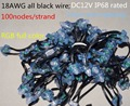 18AWG wire 100pcs/string DC12V square type WS2811 addressable RGB led smart pixel node,with all BLACK wire,IP68 rated