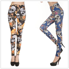 Pirate Jewelry Skeleton Print Polyester Leggings For Female Fashion Slim Fitness Pants Mid Waist Milk Silk