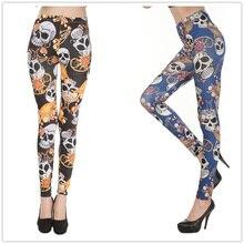 Pirate Jewelry Skeleton Print Polyester Leggings For Female Fashion Slim Fitness Pants Mid Waist Milk Silk