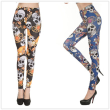 Pirate Jewelry Skeleton Print Polyester Leggings For Female Fashion Slim Fitness Pants Mid Waist Milk Silk Ankle-Length Legging