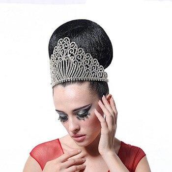 De lujo de plata oro barroco gran Corwn Miss Mundo gran tiara de joyería para el pelo la tiara de diamantes de cristal accesorios para el cabello de boda