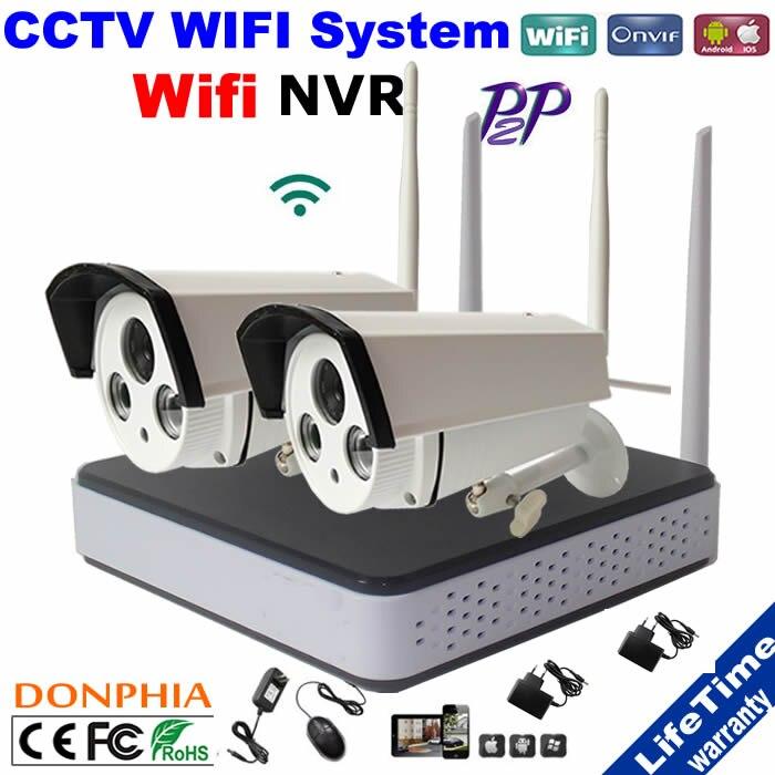 bilder für 2 PCSxHD 720 P IP Startseite Überwachung Überwachungskamera Drahtlose Nachtsicht wifi kit mit 4ch WIFI NVR remote-ansicht über smartphone