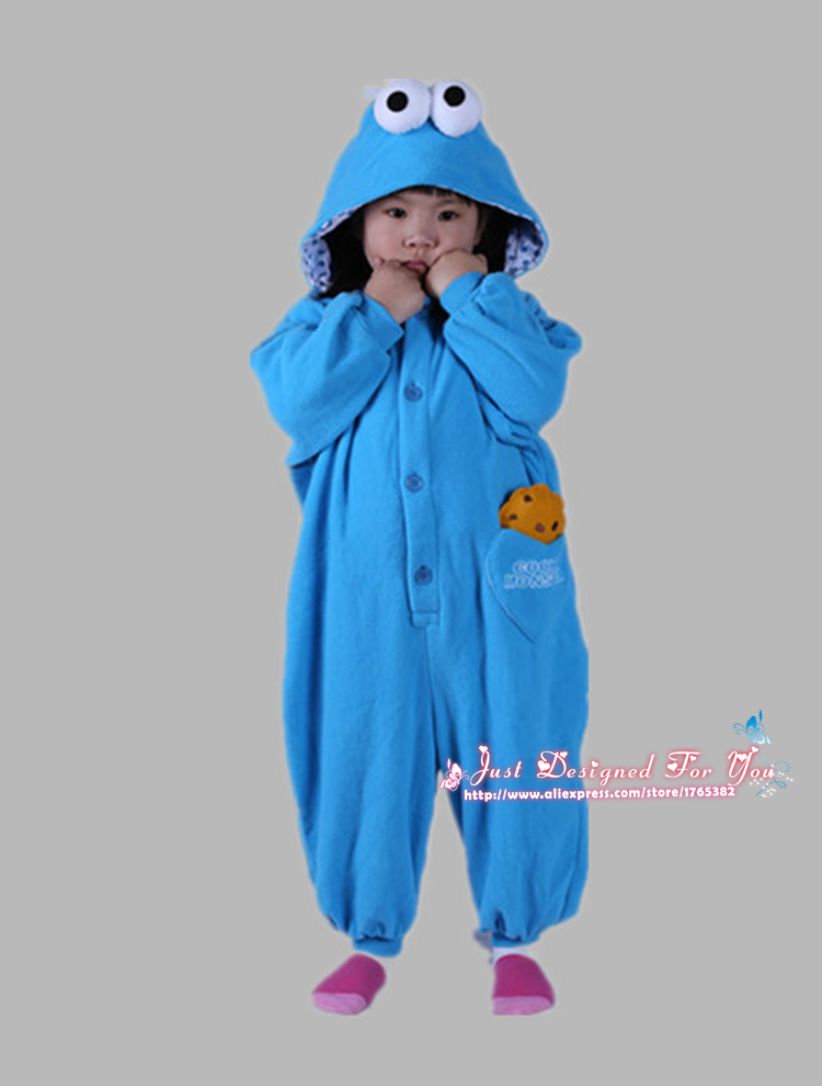 lovely sesame street cookie monster kids baby onesies costumes pajamas cartoon pyjamas boys girls halloween cosplay costume in kids costumes accessories