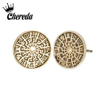 Chereda Norse Viking Ear Stud Geometric Rune Circle Stud Earrings Jewelry constellation Earrings Post for Women Male Earring image