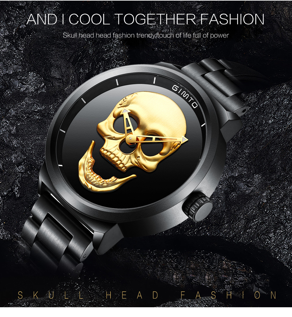 2018 Cool Punk 3D Skull Men Watch Brand GIMTO Luxury Steel Gold Black Vintage Quartz Male Watches sport clock Relogio Masculino 10