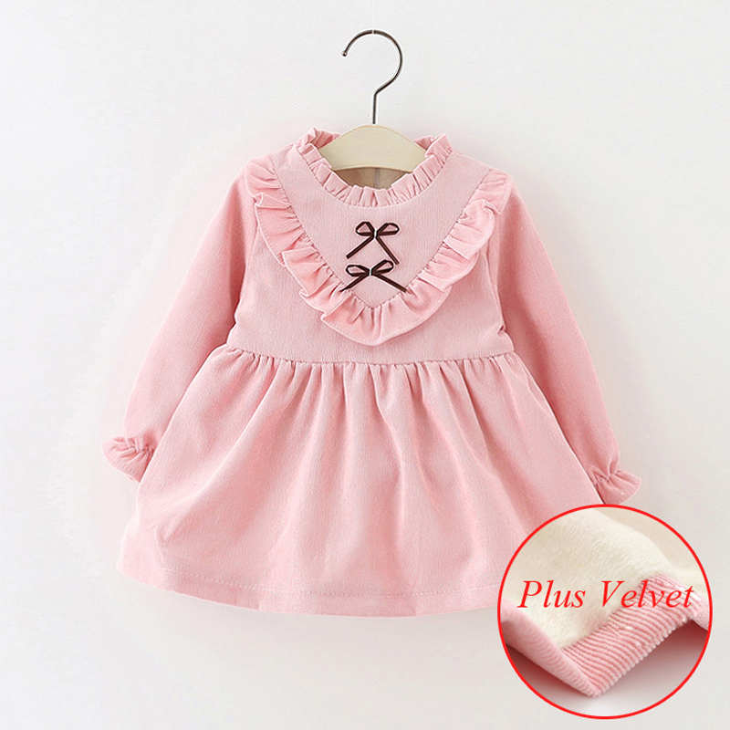 Children Winter Clothing dress with fleece for girls Birthday baby Plus Velvet dresses princess Cotton Warm Tops kids dresses