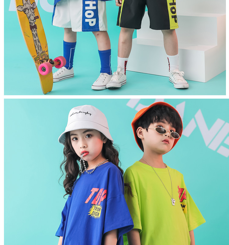 Kid clothes girl Boy set Summer 2019 4 6 8 10 12 14 Years Hip Hop T shirt Pants dance costumes kids boys Girls young clothes (4)