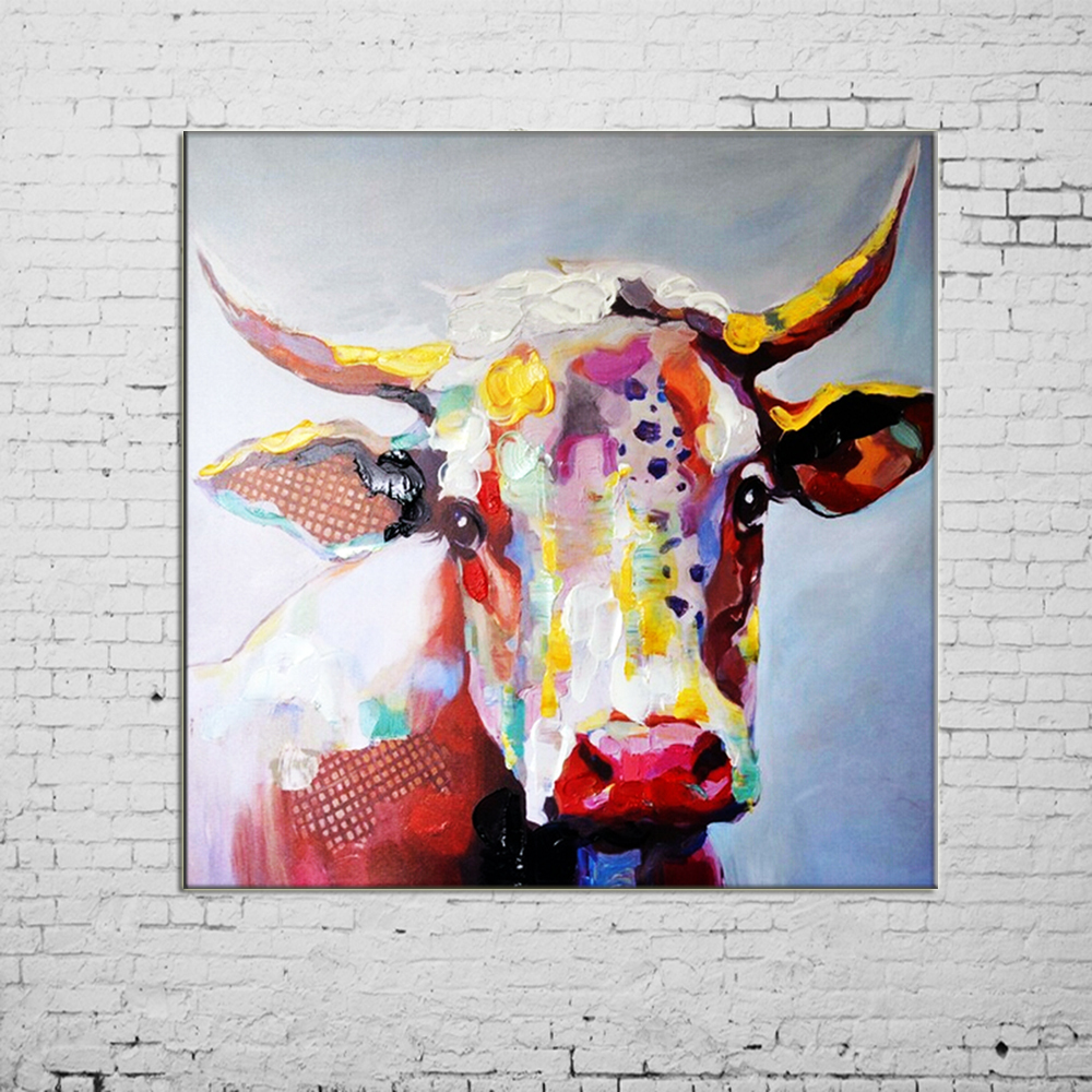 ea42ca5602f Best Gifts Paintings Handmade Wall Painting Color Cow Picture on Canvas  Abstract Home Decor Animals Oil Painting Hang Pictures-in Painting    Calligraphy ...
