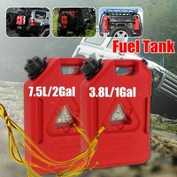 3.8L/7.5L Fuel Tank Gas Canister Jerry Cans Red Plastic Gas Diesel Petrol Oil Containers Gasoline Mount Car Motorcycle