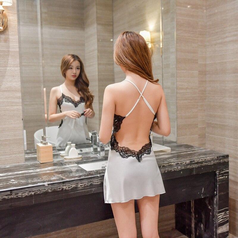 Frauen Nachthemden Sexy Spitze Satin Nachtwäsche Nachthemd Startseite Tragen Sommer Sexy Backless Schlaf Lounge Nacht Kleid Seide Nachtwäsche