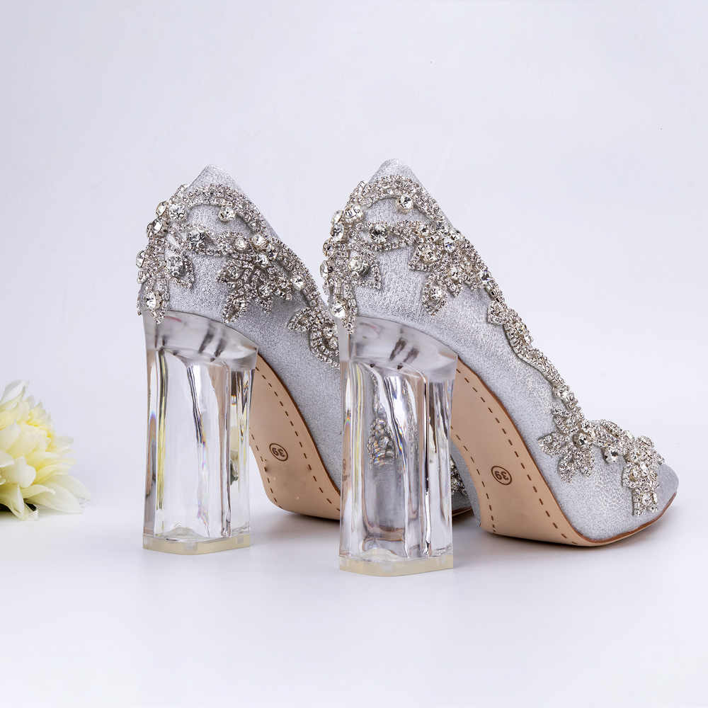Women Shoes Christmas Celebration Party Dinner Dress Silver Pumps Wedding  Bride Luxury High Qaulity Clear Square 4a1e087103aa