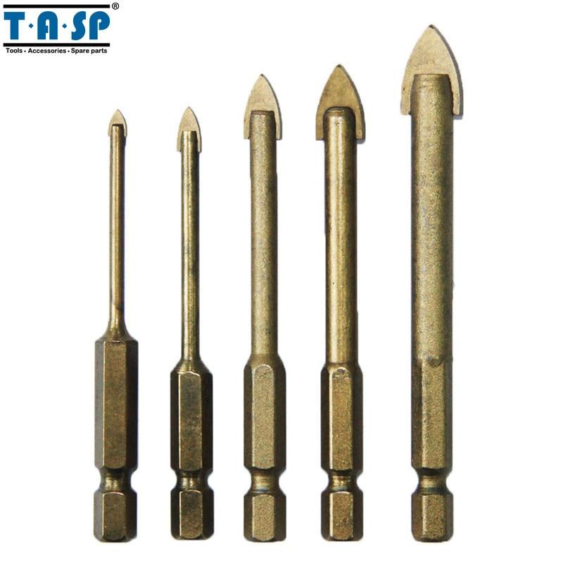 TASP MGDK002 5pcs Glass Drill Bit Set Tungsten Carbide Tipped Ceramic Tile Cutter with 1/4