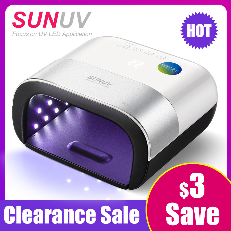 SUNUV SUN3 séchoir d'ongles Smart 2.0 48 W UV lampe à led Nail avec minuterie intelligente Mémoire Invisible minuterie numérique Affichage Nail sèche-linge