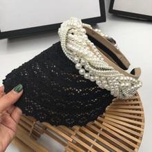Wiosna, lato, nowy francuski elegancki czarny koronkowy perłowy pusty kapelusz topliwy i piękny temperament bez czapeczki