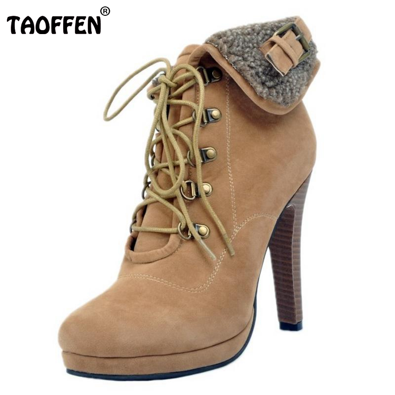 Women Lace Up Platform Ankle Boots Woman Retro Spike Heel Botas Fashion Ladies Suede Leather Heels Shoes Footwear Size 34-47 women fashion lace up platform ankle